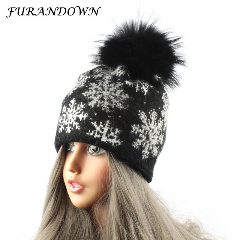 2018 nuevos sombreros de invierno para las mujeres copo de nieve jacquard gorras de piel pompón sombrero de lana de conejo de piel de punto gorro
