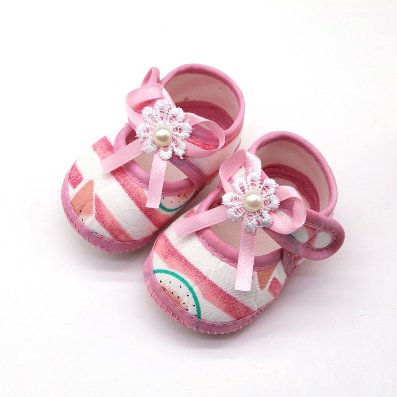 Baby Girls Shoes Infant First Walkers Toddler Girls Kid Soft Cotton Summer Bow Anti-Slip Crib Girl Newborn Shoes