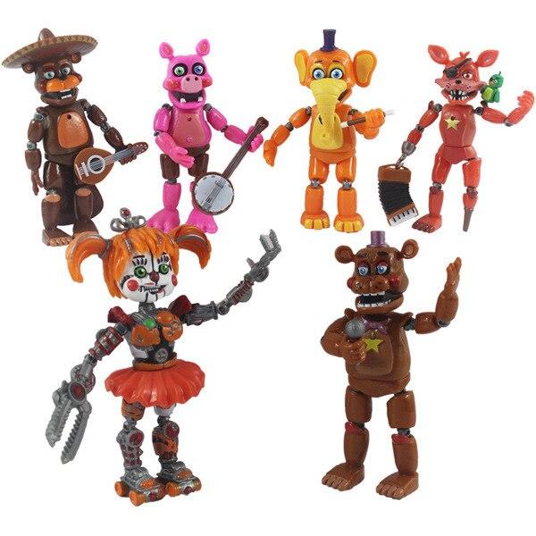 6 шт./партия Five Nights at Freddy фигурка игрушка из фнаф Бонни Фокси медведь Фредди фазбер Фигурки Игрушка кукла с светильник
