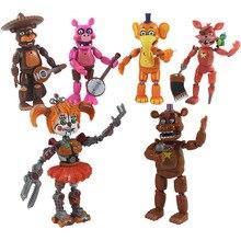 6 sztuk/zestaw pięć nocy w freddys Action figurka zabawka FNAF Bonnie Foxy Fazbear niedźwiedź figurki zabawki lalki ze światłem