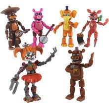 6 pçs/set cinco noites em freddys figura de ação brinquedo fnaf bonnie foxy fazbear estatuetas brinquedo boneca com luz