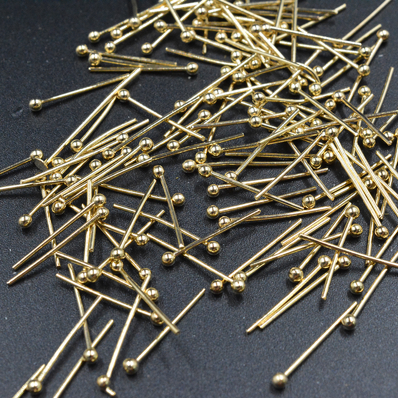 FLTMRH 100pcs 16x0.5mm  Ball Head Pin Copper Gold Jewelry Beads Findings Jewelry Accessories For Jewelry DIY