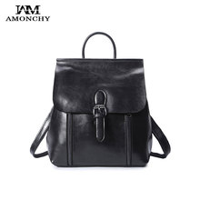 AMONCHY Brand Women Backpacks Vintage Split Leather Shoulder Bags Fashion School Bag Travel Shopping Backpack For Teenage Girls