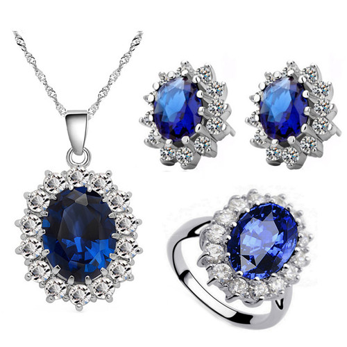free shipping Queen Royal 18K GP austrian crystal czech rhinestones zircon pendant necklace earrings ring fashion Jewelry sets mặt dây chuyền đẹp