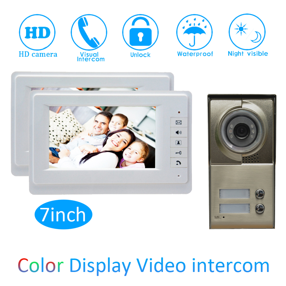 One to Two Video Door Phone System For Security Visitor Calling system 7 inch color Monitor Wire Type Doorbell Night Vision 7 inch video doorbell tft lcd hd screen wired video doorphone for villa one monitor with one metal outdoor unit night vision