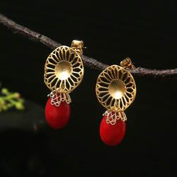Amxiu ручной работы натуральный коралл ювелирные изделия 925 пробы серебряные серьги для женщин вечерние партии интимные аксессуары мод