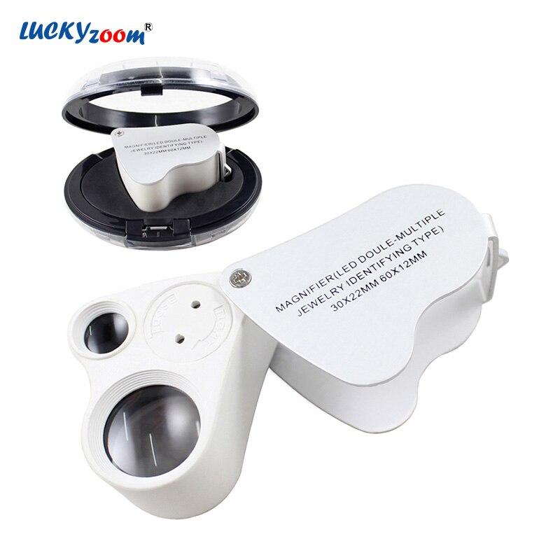 Luckyzoom 30X 60X складной мини-Лупа с подсветкой Оптический Стекло металла увеличительное Стекло с светодиодный свет для ювелирных изделий Лупа