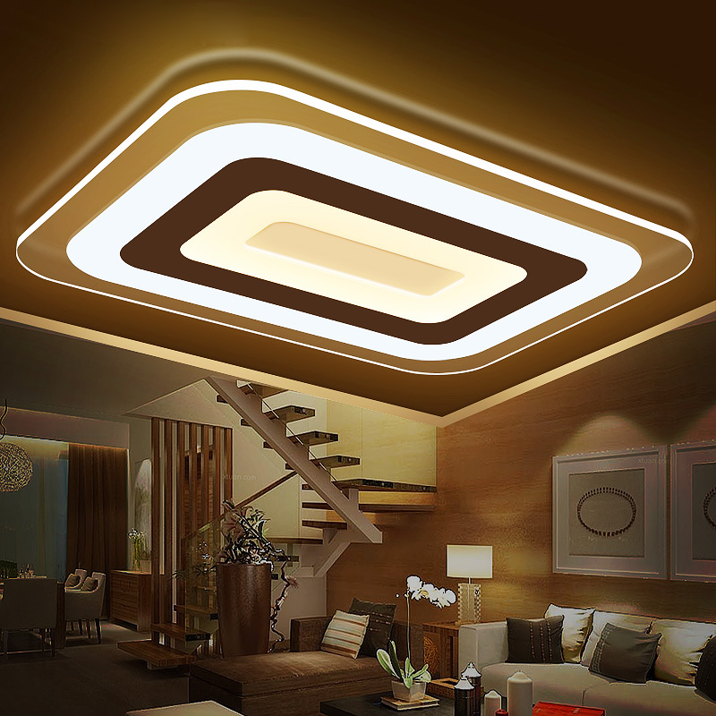 Modern LED ceiling light fixtures for living room Square acrylic lampshade bedroom dining lighting Dimming Remote 60W ceiling lighting minimalist modern balcony study bedroom lighting led intelligent atmospheric living room dining room