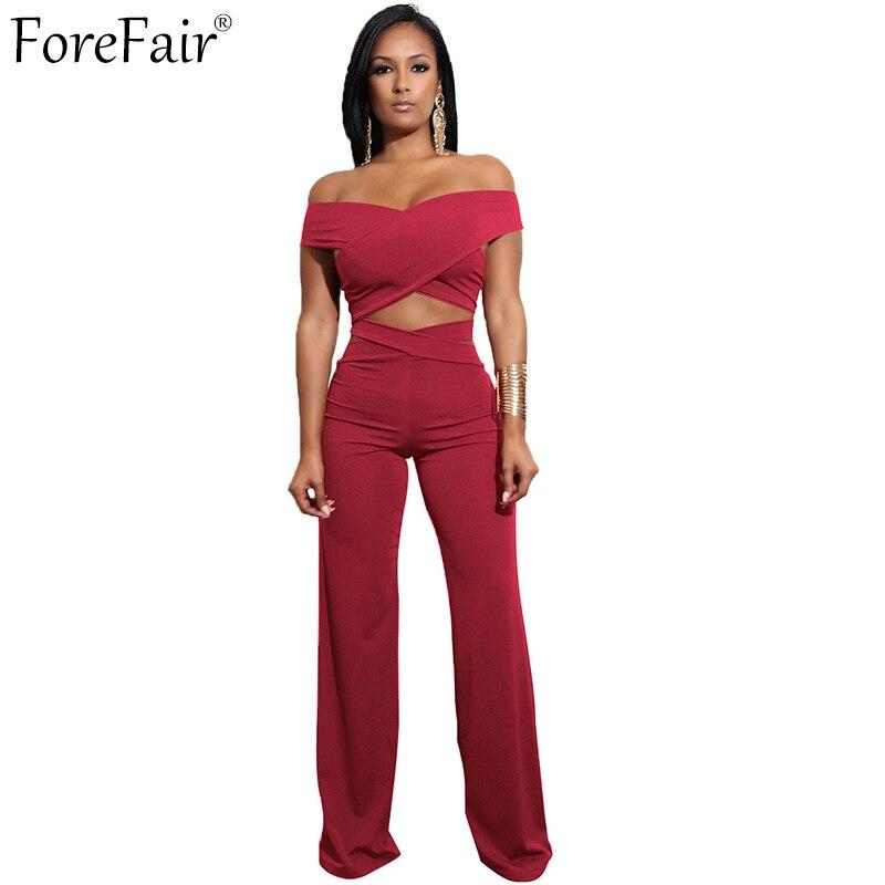 ForeFair Sexy Criss-Cross Off the Shoulder Top Boot Cut Long Pants Bandage Jumpsuit Plus Size Two Piece Women Sets