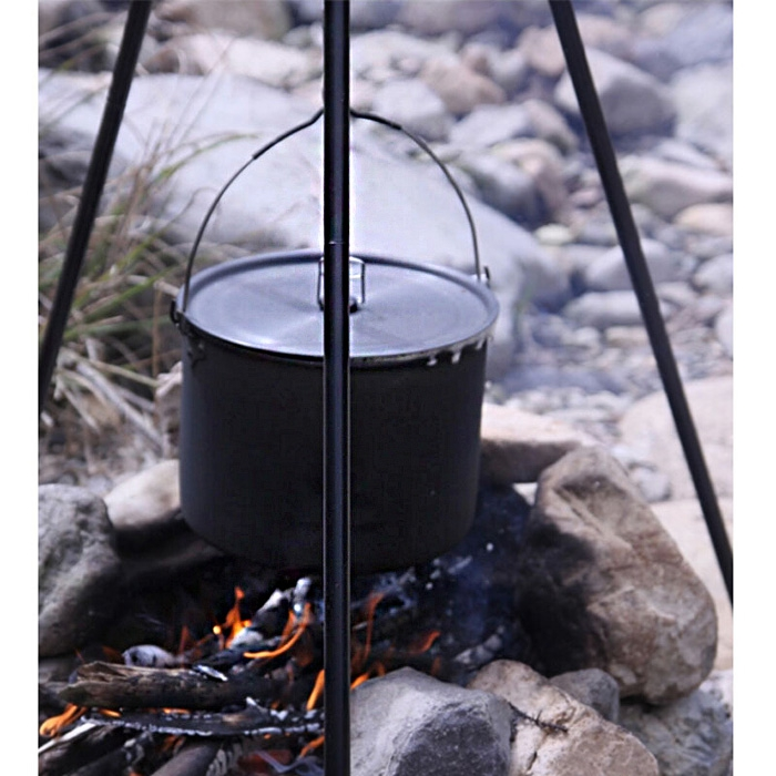 CW-RT02 10.5L Outdoor Camping Stainless Steel Hung Pot with Folding Handle outdoor rt 502 camping stainless steel folding bowl silver