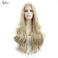 Sylvia blonde wig long replacement hair deep wave synthetic lace front wigs for white women girl ladies mix color heat resistant