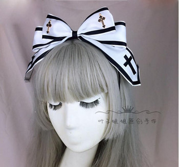 Japanese Style Gothic Girls Black White Cross KC Headband Lolita Female Bowknot Headwear Cosplay Punk Hair band Hair Accessories 1