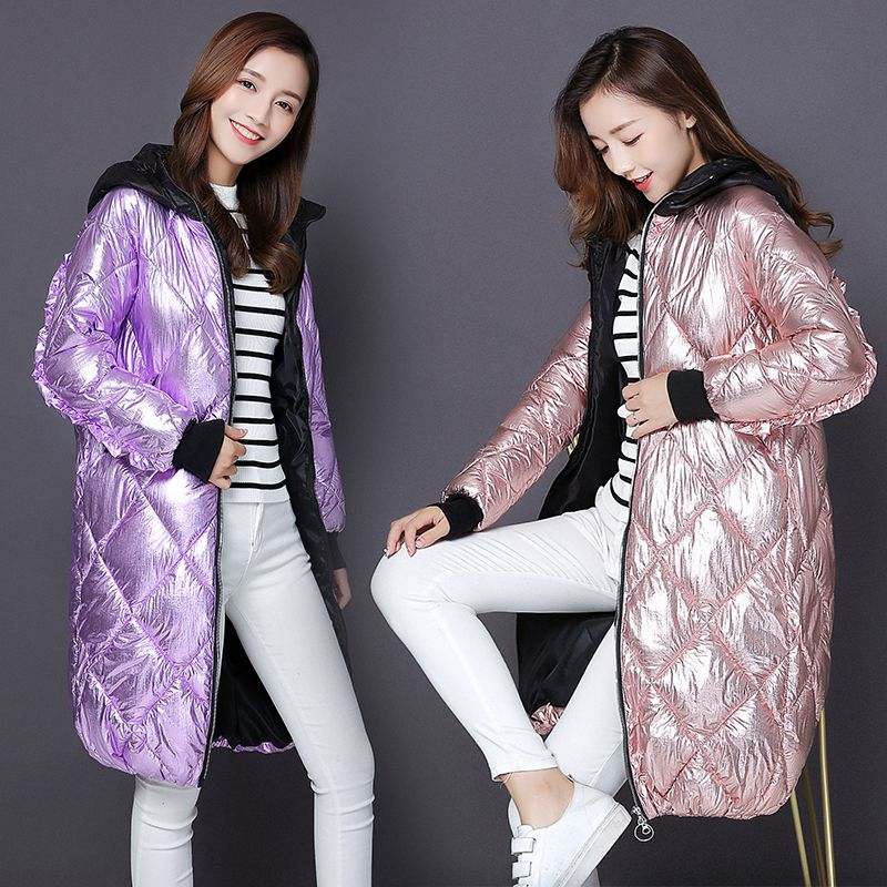 Fashion Metal Golden Silver Bright Hooded Jacket Coat Women's Winter Warm Cotton Padded Long   Parkas   New Bomber Streetwear   Parka