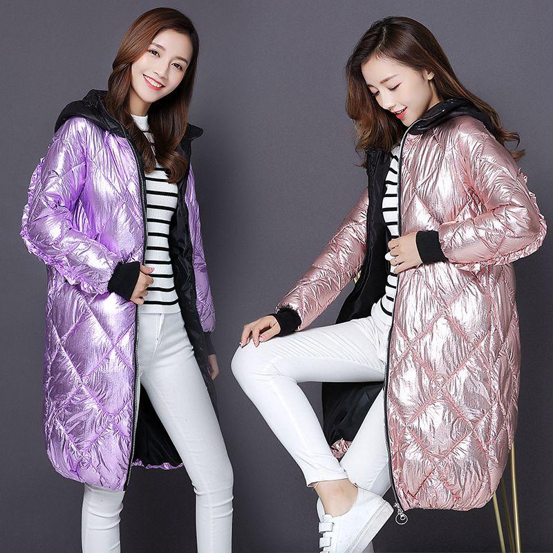 Moda Metal dorado plata brillante chaqueta con capucha abrigo mujer invierno cálido algodón acolchado largo Parkas nuevo bombardero Streetwear Parka