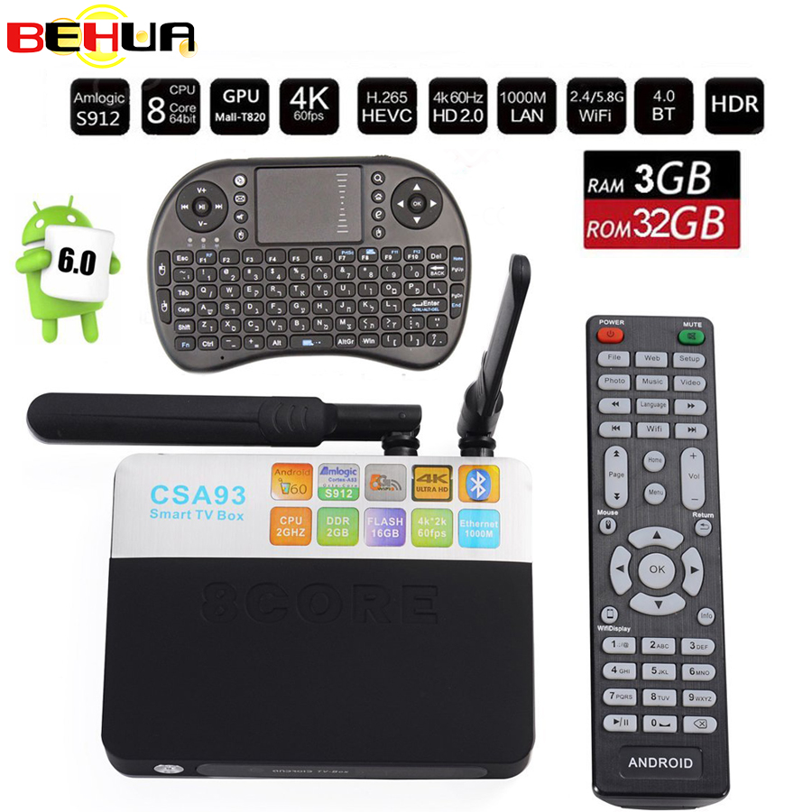 CSA93 Android7.1 TV Box 3G 32G Amlogic S912 Octa Core Smart Mini PC 2.4G/5.8G Wifi Bluetooth 4K media payer Set Top Box+keyboard