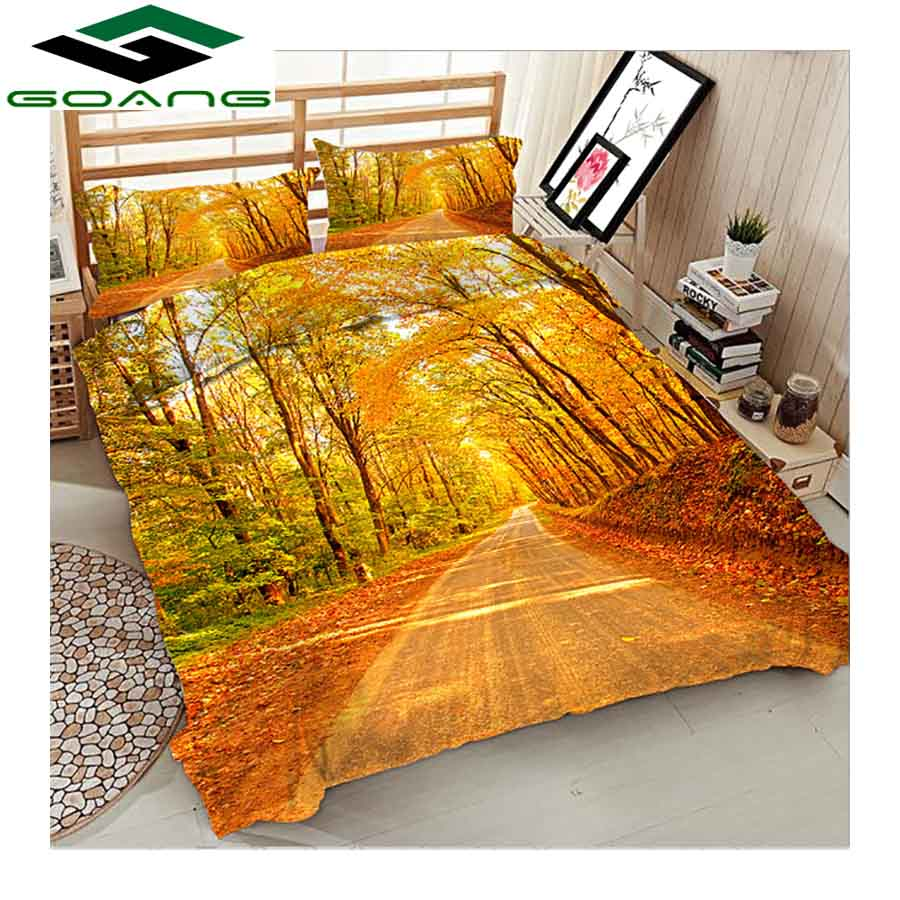 GOANG Full Size Bedding Sets Bed Sheet Duvet Cover Pillow Case 3D Digital Printing Autumnal Scenery Luxury Bedding Home Textiles