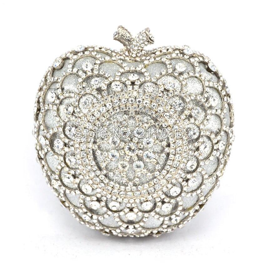 customized Silver Apple Shape Luxury Crystal Evening Bag Lady Party Bag Famous Design Wedding Day Clutch (88307-G) luxury crystal clutch handbag women evening bag wedding party purses banquet