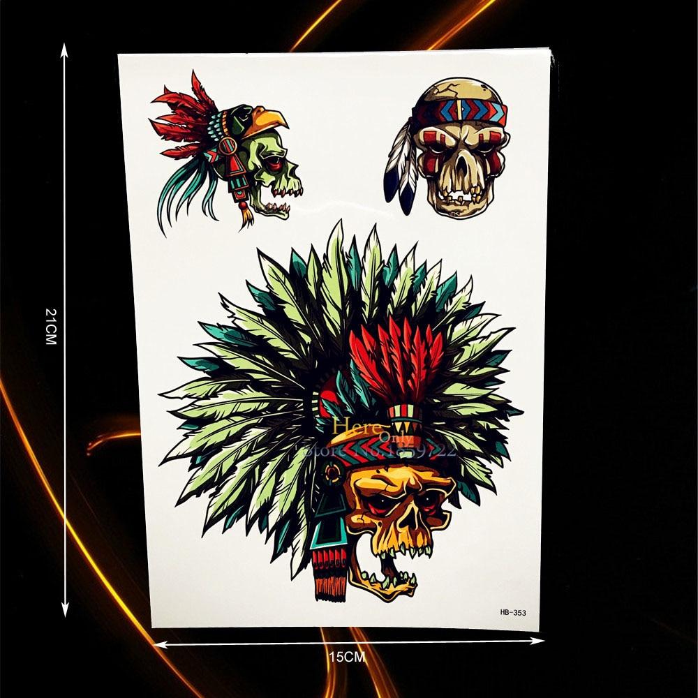 ΞSexy brazo pecho tatuajes temporales tatuaje tribu cráneo indio ...