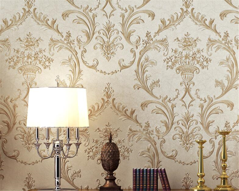 Beibehang European Luxury Deep embossed 3D Wallpaper Flocking Non-woven Wallpaper Roll,Living Room TV Wall Paper Roll flower european high quality luxury non woven wallpaper roll cream gilt flocking embossed textured feature bedroom home decor papeles p