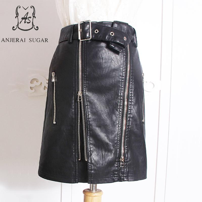 Autumn winter women Faux leather skirt black PU leather sexy slim zipper Package hip female OL office Locomotive leather skirt
