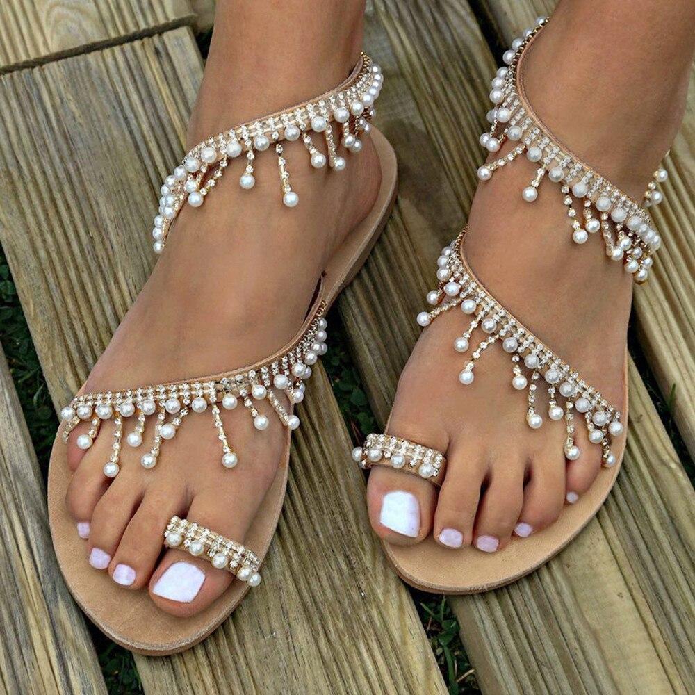 Women Sandals Beaded Summer Shoes Woman Beach Flat Sandals Plus Size Flip Flop Ladies Pearl Soft Bottom Slippers Female Sandalia