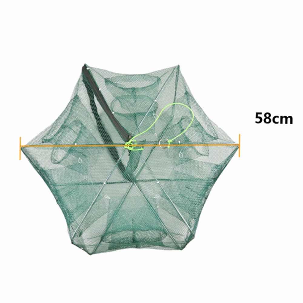 Reforçado 6 furos rede de pesca automática camarão gaiola de náilon dobrável caranguejo armadilha de peixe fundido net dobrável rede de pesca