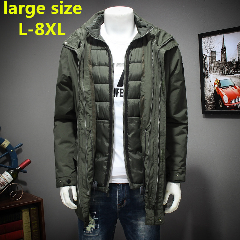 new plus size 8XL 7XL 6XL Polyester Winter Jackets And Coats Thick Warm Fashion Casual Handsome Young Men Parka Fit Snow Cold