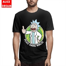 цены на Men's O-neck Peace Among Worlds Rick And Morty T shirt Graphic Print Camiseta 100% Cotton Free Shipping Tee Shirt  в интернет-магазинах