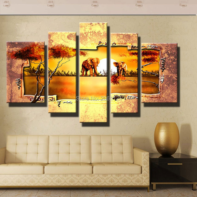 Handmade Retro Nostalgia Africa Landscape Oil Painting Animals 5 Piece Wall Art Canvas Huge Living Room