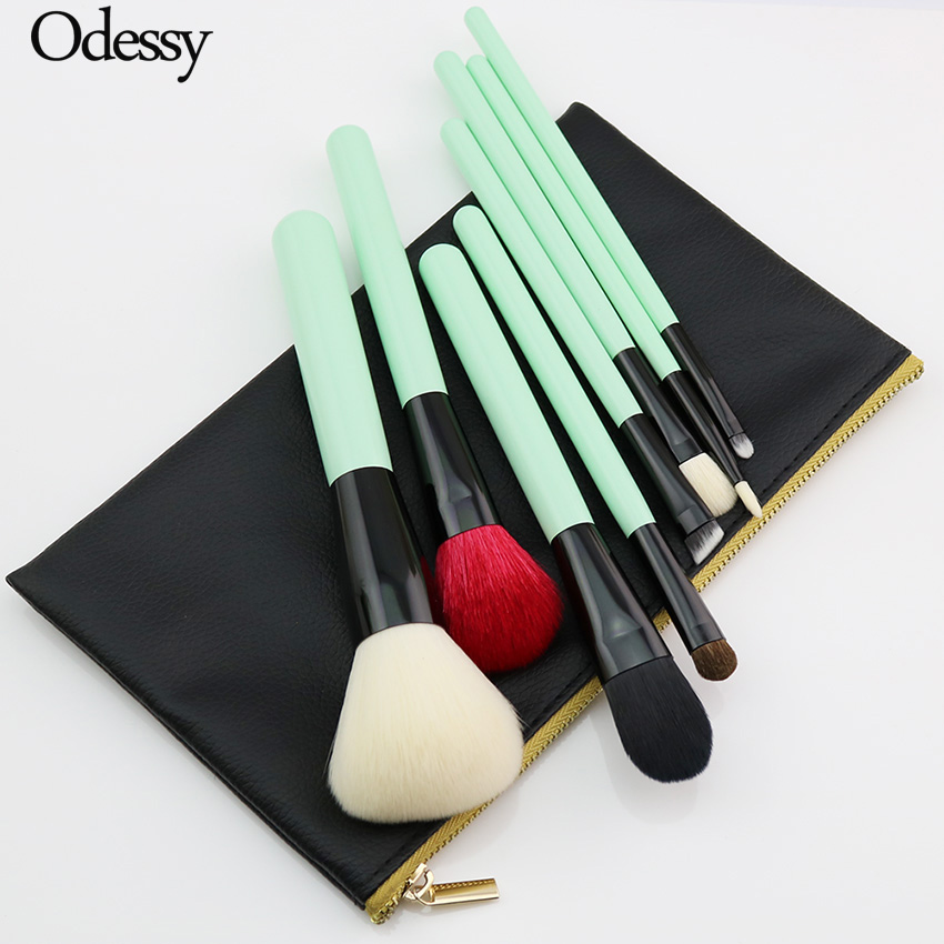 High Quality 8PCS Makeup Brushes Green Natural Goat Horse Hair Set Powder Foundation Blending Eyeshadow Eyebrow Brush with Case high quality for 150g green tea extract powder