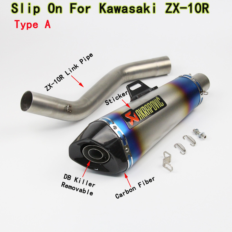 ZX10R Motorcycle Exhaust Full System Modified Middle Link Pipe Carbon Fiber Muffler With Sticker For KAWASAKI ZX-10R 2008-2014 motorcycle exhaust pipe carbon fiber modified muffler pipe for ktm 125 200 390 duke abs 1190 rc8 adventure 2008 2016 2017