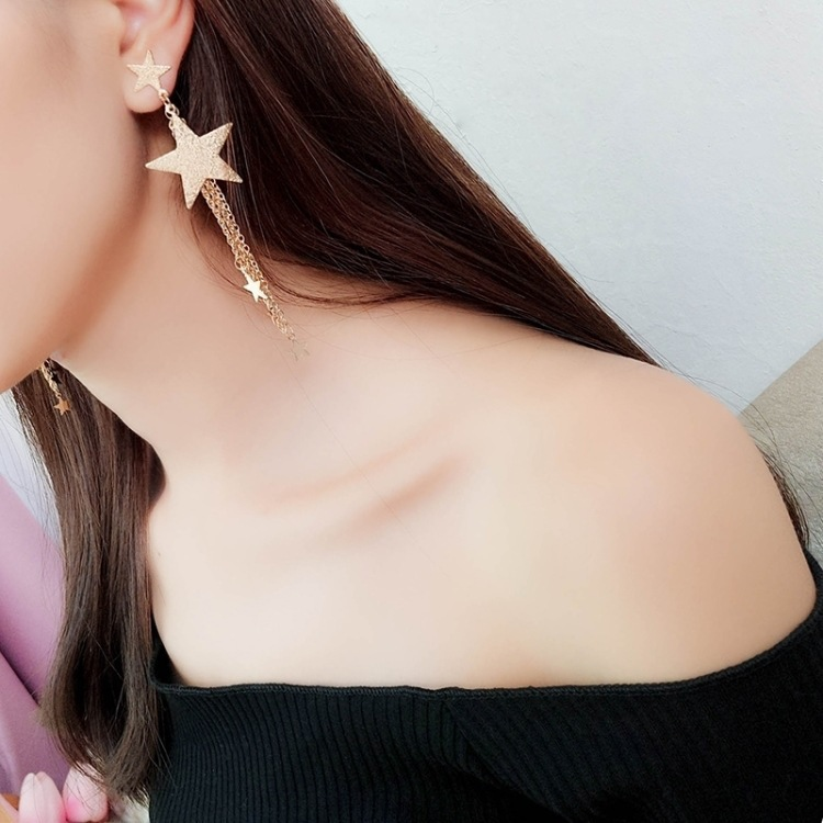 1 Pair Best Lady New Fashion Statement Jewelry Cheap Tassel Long Earring For Women Wedding Dangle Drop Star Earrings in Drop Earrings from Jewelry Accessories