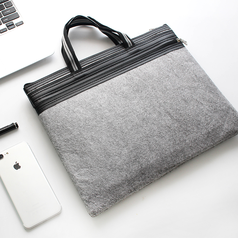 Hot Selling Minimalist Style A4 Double Zipper Handbag Felt Bag Men's Office Bag Document Bag Computer Folders Filling Products cewaal new design a4 photo laminator document hot
