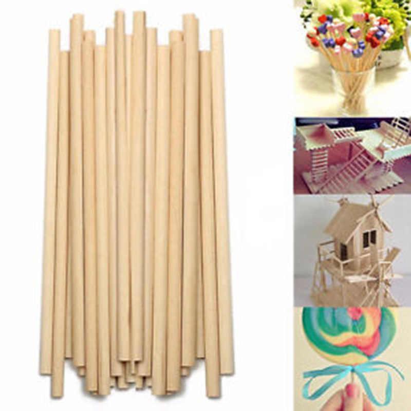 50pcs Lollipop Sticks ไม้ Lolly ธรรมชาติหัตถกรรม Lollies ICE Pops เด็กสี