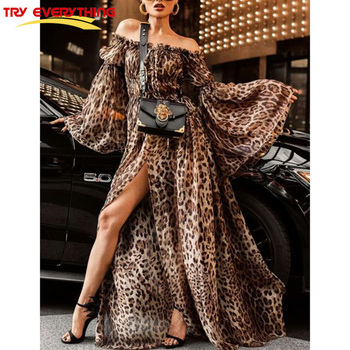 Try Everything Boho Dresses For Women 2018 Summer Sexy Dress Plus Size Off Shoulder Leopard Dress Women Long Sleeve Vestidos Платье