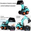 2017 nova simulação bulldozer escavadeira carro engenharia de controle de 6 canais de controle remoto elétrico veículos das crianças toys