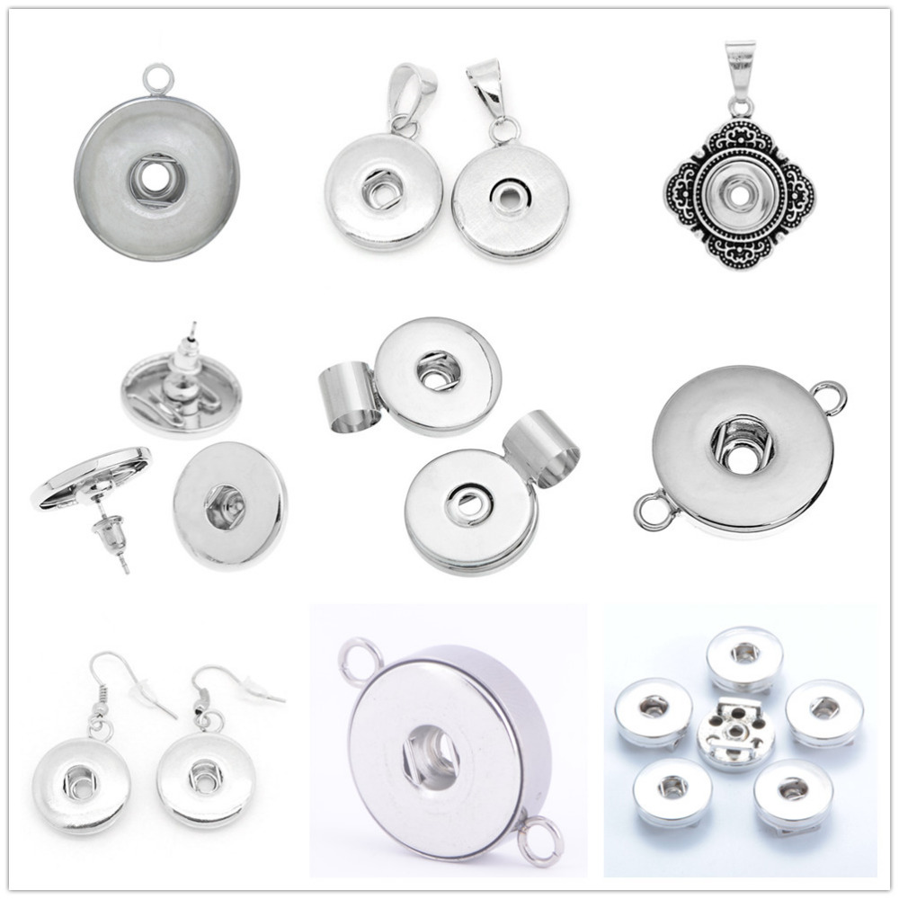 Hot sale Fashion Simple 12mm/18mm charm snap buttons Fittings charms earrings for make snap jewelry wholesale
