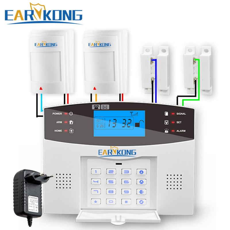 433MHz Wireless GSM Alarm System English Russian Spanish French Italian Language Wired Motion Detector Alarm Wired Door Sensor майка классическая printio i don t stop
