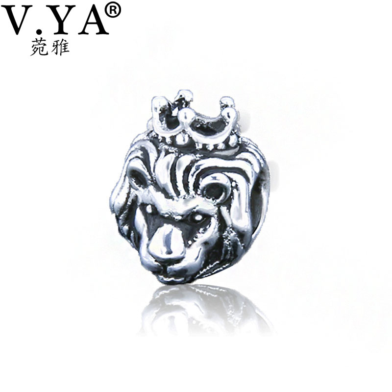 Lion with Imperial Crown Charms Beads fit Pandora Bracelet Chain Necklace Women Men DIY Jewelry PAZ039