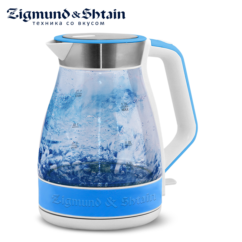 Zigmund & Shtain KE-821 Electric Kettle 2200W 1.7L Removable filter Auto shut-off when boiling Water level scale 3 stage prefilter ionized antioxidant water filter replacement