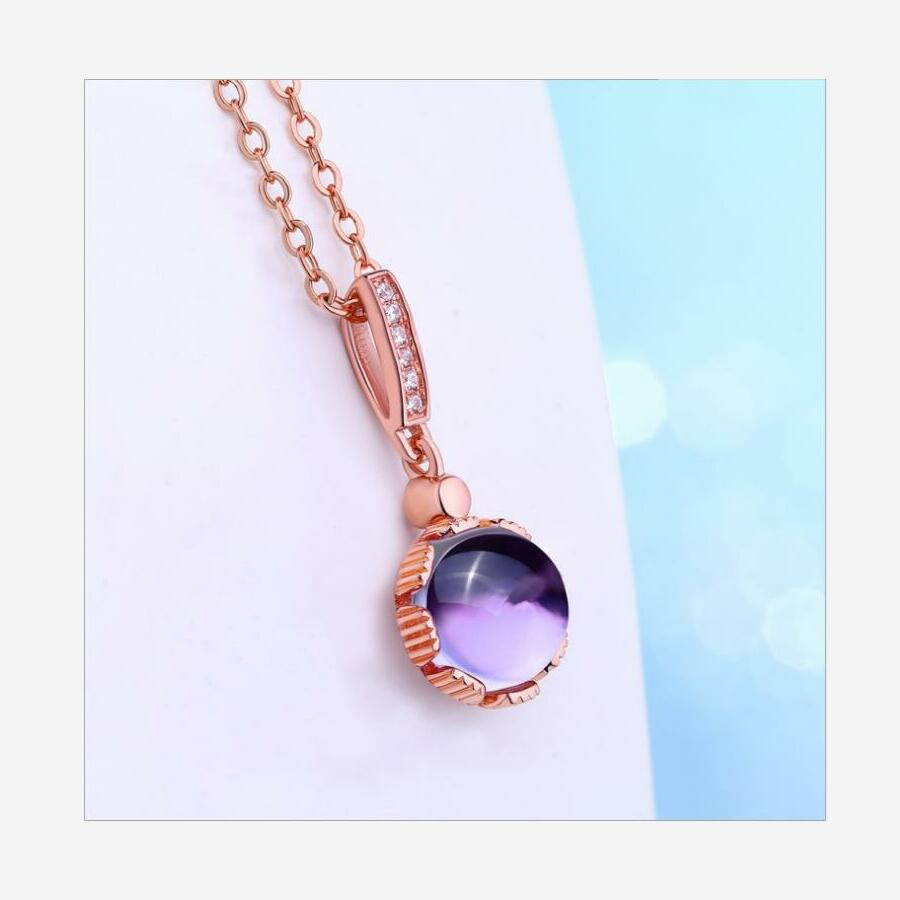 New Natural Round Amethyst Necklace Women 39 s 925 Sterling Silver Rose Gold Necklace J0259 in Necklaces from Jewelry amp Accessories