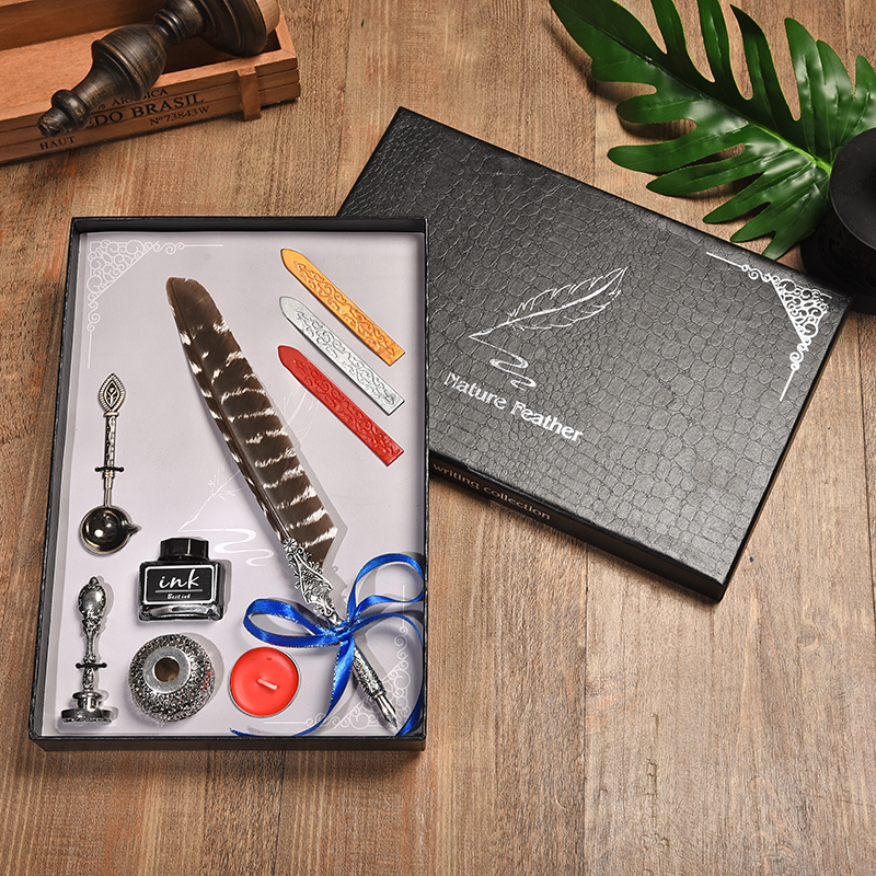 New Writing Tools Retro Peacock Feather Pen Personality Dip Pen Set Creative Metal Pen Gift Box Office Supplies Birthday Gift bnb europe and the united states creative craft feather pen ink set feather pen gift box new metal pen can be customized