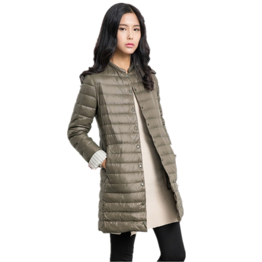 Autumn Fall Women Long Jackets Coats Collarless Long Sleeve Single Breasted Solid Color Padded Coat for Women Coat Parka C76904M