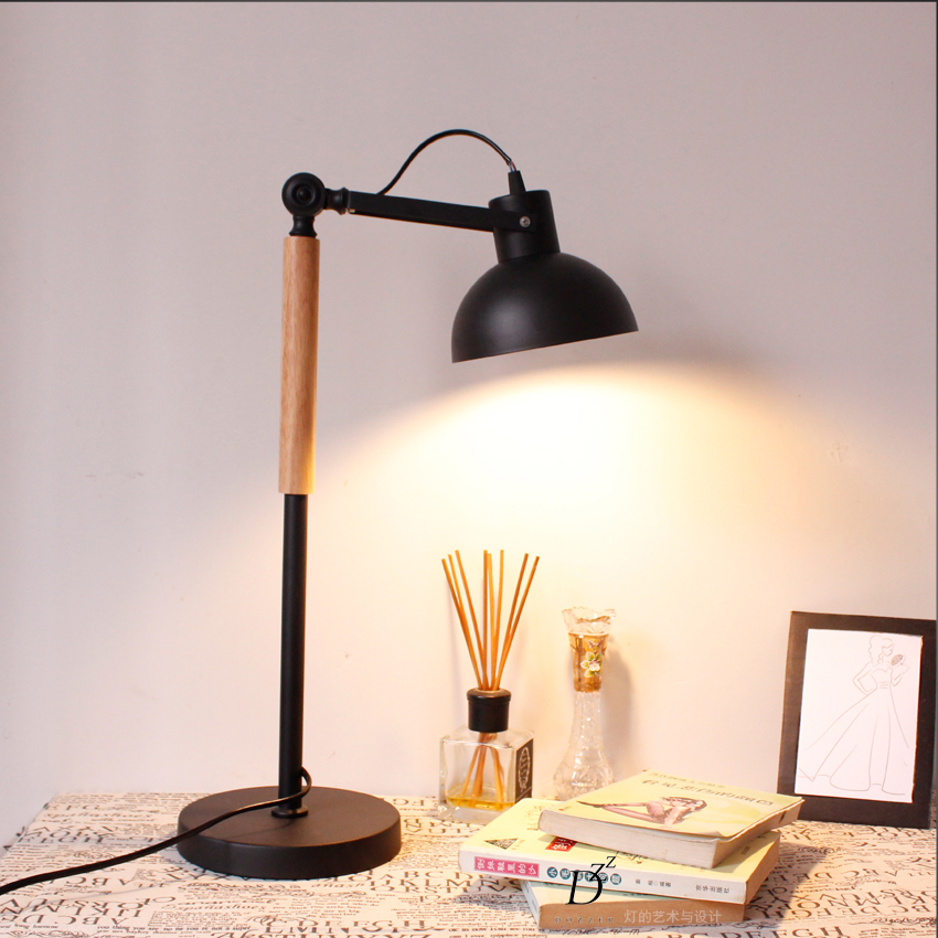 Loft Solid Wood Art Table Light Bedroom Reading Lamp For Cafe Bar Hotel