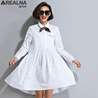 AREALNA Vintage Autumn Women Shirt Dress Bow Tie Lady Long Sleeve White Bodycon Party Dresses Casual