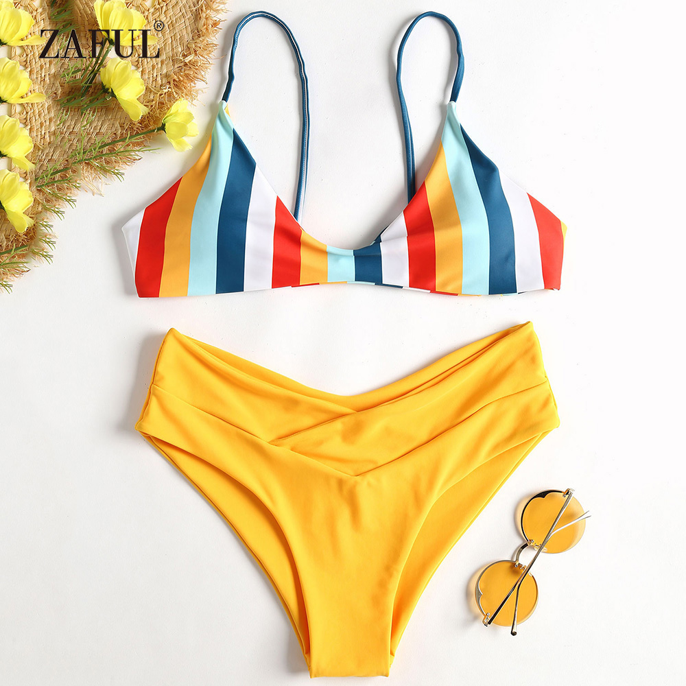 ZAFUL Rainbow Bikini 2018 Striped Swimwear Women High Waisted Swimsuit Sexy Spaghetti Straps Padded Swimwear Biquni Bathing Suit