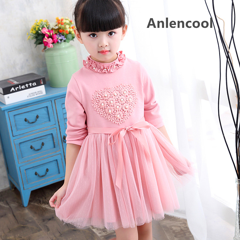 Anlencool 2017 childrens wear love pearl long sleeved Girl Dress Lace Princess Dress chidren dress in autumn baby clothing