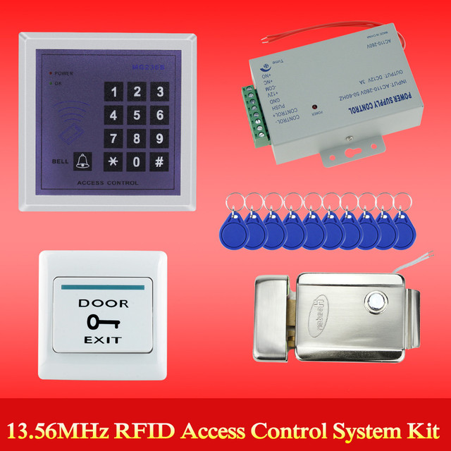 Full 13.56MHz access control system for 500 user MG236B model+power supply+electronic control lock+door exit button+key fobs