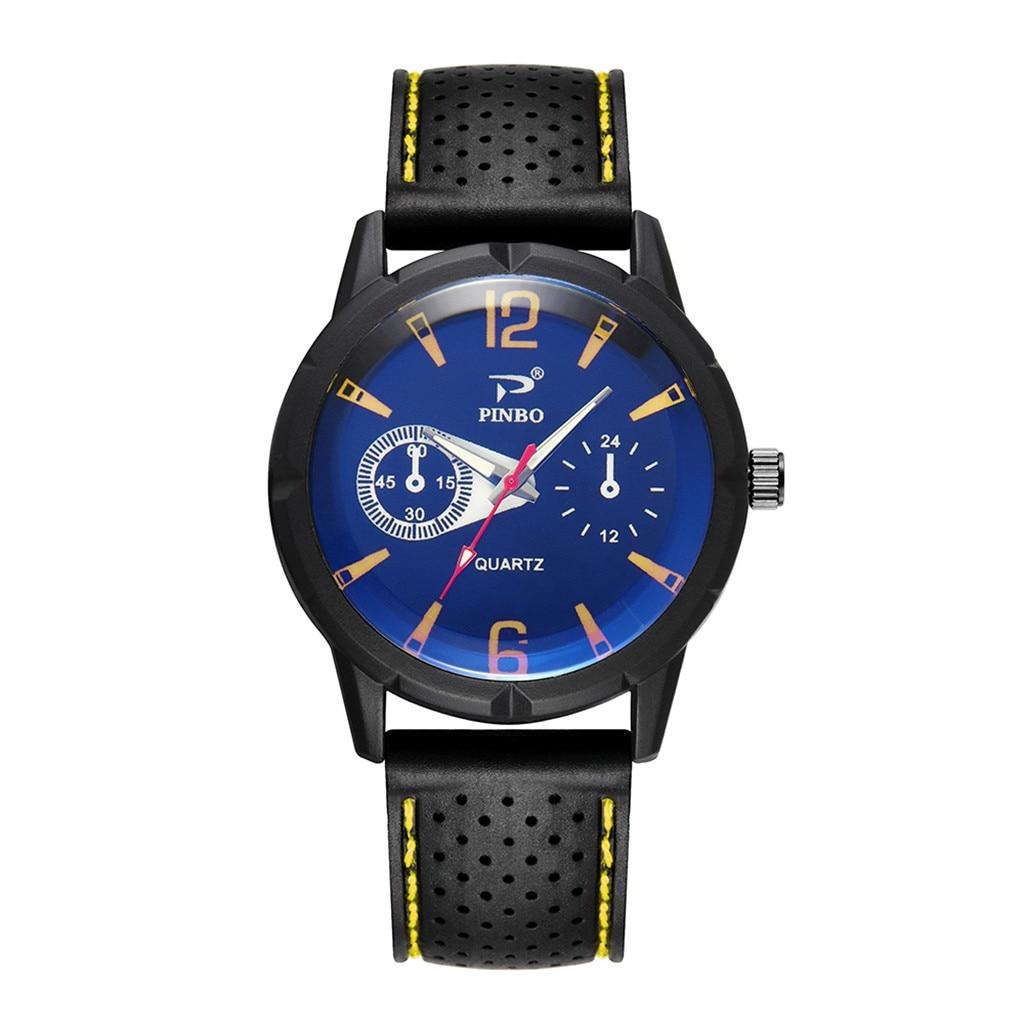 Men Soft Silicone Rubber Strap Sports Fashion Watch Simulated Quartz Watch zegarek meski wall clock mechanism 30