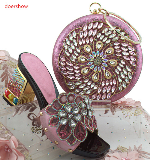 doershow Italian Ladies Shoes and Bags To Match Set Italian Matching Shoe and Bag Set for Wedding Nigerian Party Shoes PFG1-41 free shipping fashion woman italian matching shoes and bags set wedding party lady shoe and bag set with rhinestones mm10126
